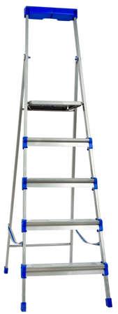 step ladder: New metallic step ladder isolated on white background