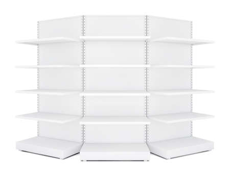 three shelves: Three rounded blank empty retail shelves. White Background. 3D illustration Stock Photo
