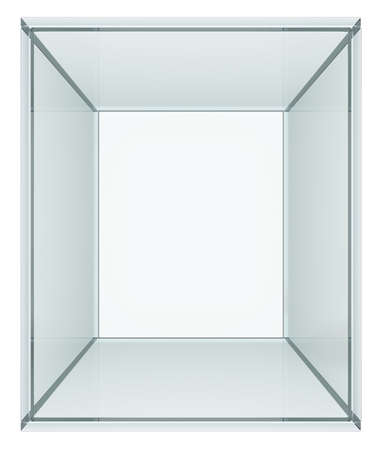 expansive: Empty glass cube. Isolated on white. 3D illustration Stock Photo