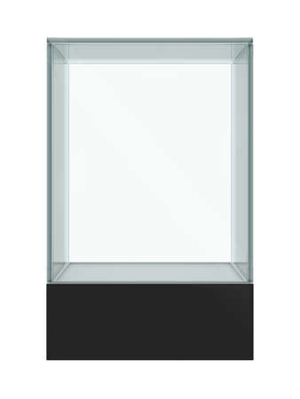 showcase: Empty glass showcase for exhibit isolated. 3D illustration Stock Photo