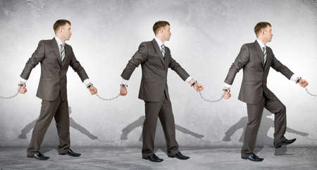 white collar crime: Handcuffs, white collar crime, arrest. People going to each other