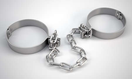 felon: Rendered handcuffs on grey background, 3d rendering. Close up view