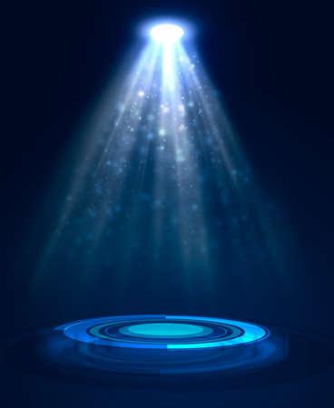 Abstract blue light background. Spotlight illumination floor. Exhibition template