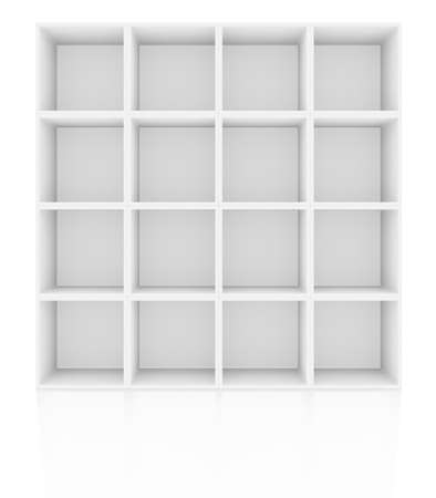 racking: Empty shelves, blank bookcase library. Isolated on white. 3D rendering