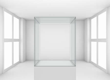 shop show window: Display glass case. Showcase in white room with windows. Template for design. 3D illustration