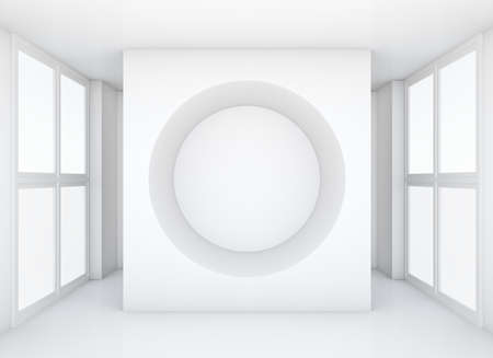 spot clean: White wall with hole in clean exhibition room with large windows. Empty space for products. 3D rendering