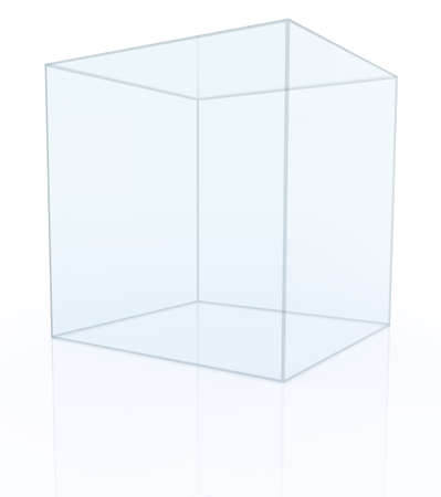 expansive: Empty transparent glass box  isolated on white background. 3D rendering Stock Photo
