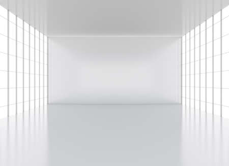 empty space: Art gallery or exhibition room. 3D illustration. Big windows, floor and ceiling