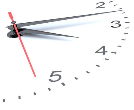 midday: Closeup of hands on clock face. 3D illustration