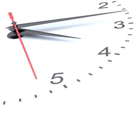 Closeup of hands on clock face. 3D illustration