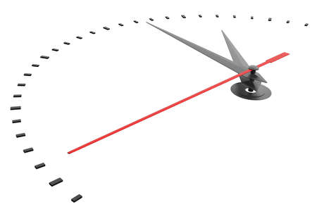 reflects: Clock and timestamp without numbers. Isolated. 3D illustration Stock Photo