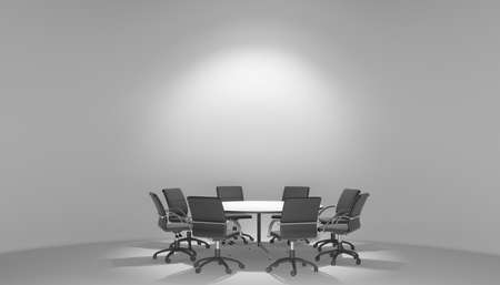Illuminated spotlights meeting room with round table and armchairs. 3D illustration