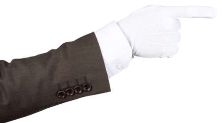 cuff link: Butlers gloved hand pointing isolated over white background