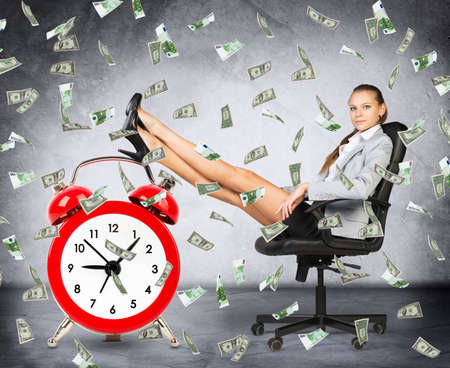 money rain: Time is money concept with businesswoman, clock and money rain