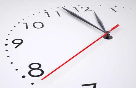 punctuality: La cara del reloj aislado en el fondo blanco, primer plano. ilustraci�n 3D