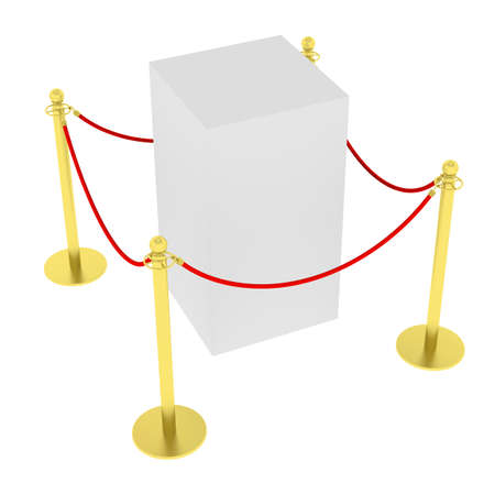 showcase: Empty showcase with tiled stand barriers for exhibit. Isolated on white background. 3D illustration Stock Photo