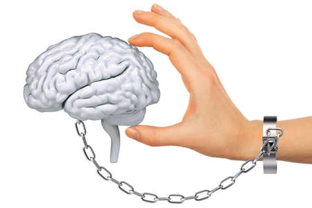 young  cuffs: Chained hand holding human brain isolated on white background