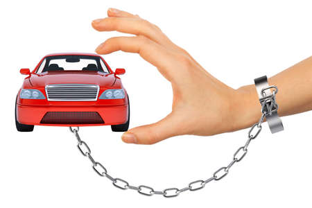 women's hand: Red car in chained womens hand isolated on white background