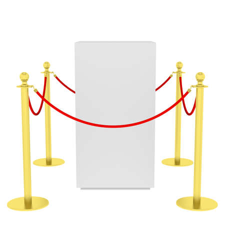 velvet rope barrier: Barrier rope and white box isolated on white background. High resolution 3D illustration