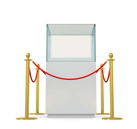 showcase: Empty glass showcase for exhibit with barrier rope. 3D illustration Stock Photo