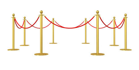 velvet rope barrier: Golden barricade isolated on white background. 3D illustration