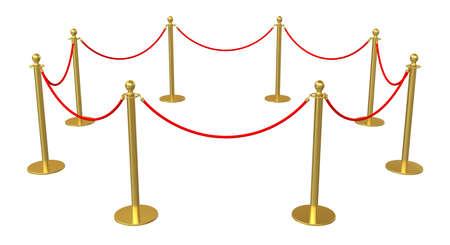 velvet rope barrier: Golden barricade isolated on white background. 3D illustration