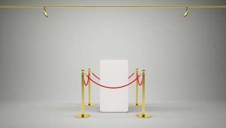 stanchion: Golden fence, stanchion with red barrier rope, on gradient gray background. 3D illustration