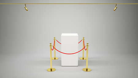 velvet rope barrier: Barrier rope and white box on gray background. High resolution 3D illustration Stock Photo