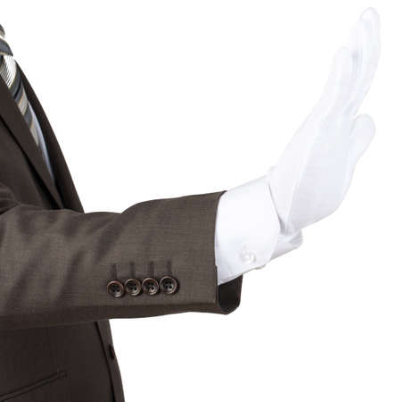 white glove: Mans hand in white glove showing stop gesture isolated on white background