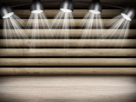 dramatics: Illuminated empty brown concert stage with rays of light
