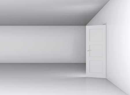 blank wall: Open white door and blank wall, showroom. 3D illustration