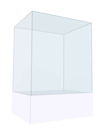 3D empty glass box for exhibit. 3D illustration