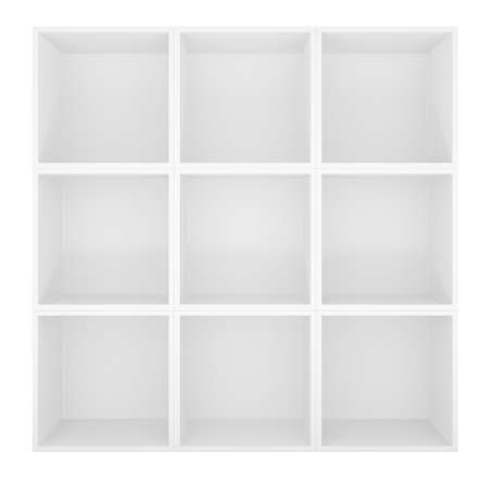 storage compartment: Empty shelves, blank bookcase library. Isolated on white. 3D rendering