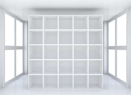large group of object: White clean hall or room with shelf. 3D illustration