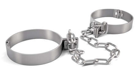 delinquent: Rendered handcuffs isolated on white background, 3d rendering Stock Photo