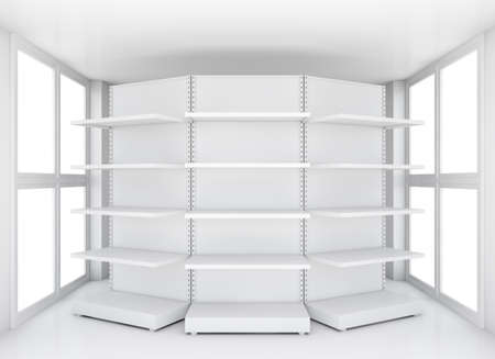 product display: Retail shelves for samples product in blank clean interior room with large windows. 3d rendering