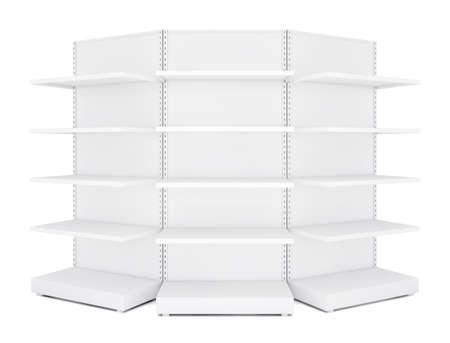 three shelves: Three rounded blank empty retail shelves. White Background. 3D illustration Stock Photo