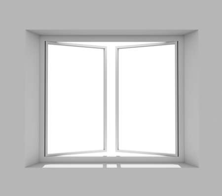 sill: Clean gray wall with opened window. 3D rendering Stock Photo