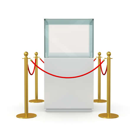 velvet rope barrier: Glass showcase for exhibit with gold fence and red rope. 3D illustration Stock Photo