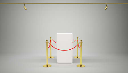 exhibit: Empty showcase with tiled stand barriers for exhibit. Gray background. 3D illustration Stock Photo