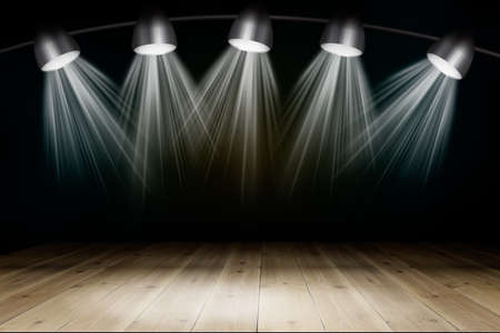 dramatics: Illuminated empty brown concert stage with rays of light. 3D illustration