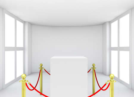 art museum: Empty showcase with tiled stand barriers for exhibit. Isolated on white background. 3D rendering Stock Photo