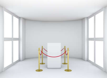 expansive: Empty showcase with tiled stand barriers for exhibit. Isolated on white background. 3D rendering Stock Photo