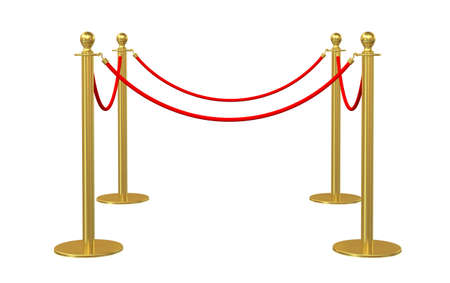 stanchion: Golden fence, stanchion with red barrier rope, isolated on white background. 3D illustration