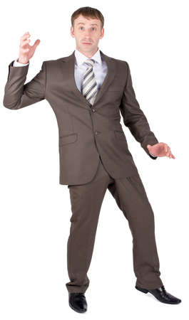 suprise: Businessman looking suprised. Isolated on white background.