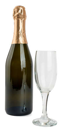 uncork: Champagne bottle and champagne glass isolated on white background