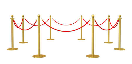 velvet rope barrier: Barrier rope on white background. 3D illustration