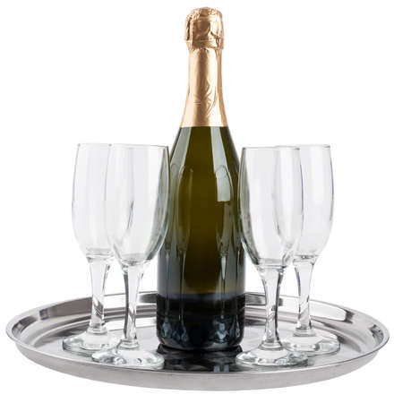 sample tray: Champagne bottle and four champagne glasses on tray isolated on white background Stock Photo