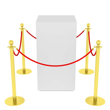 velvet rope barrier: Golden fence, stanchion with red barrier rope, isolated on white background. 3D illustration
