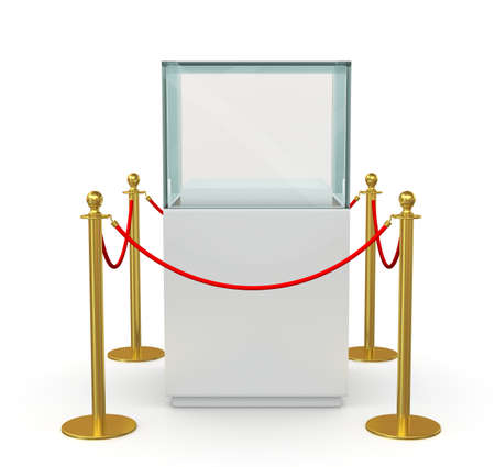 velvet rope barrier: Empty glass cube on pedestal for exhibit with barrier rope. 3D illustration Stock Photo